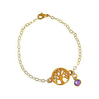 Gemshine YOGA Armband Lebensbaum und lila Amethyst. 925 Silber, hochwertig vergoldet oder rose Charm Armkette. Nachhaltiger, qualitätsvoller Schmuck Made in Spain