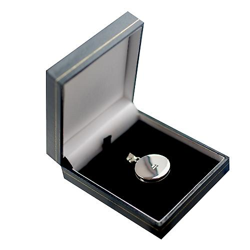 Silver 23mm engraved flat round Locket