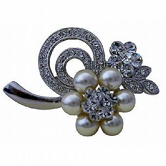 Flower brosje Pin i perler & Cubic zirkon for prudepike