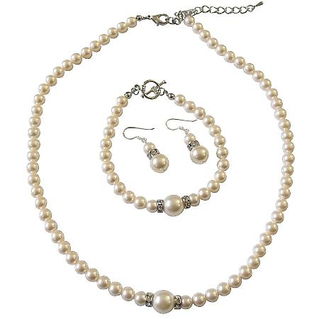 Bridal Ivory Pearls Jewelry Complete Set Necklace Earrings & Bracelet