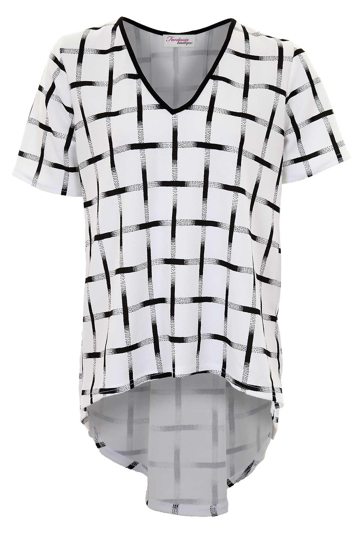 Ladies Short Sleeve V Neck Smart Check Pattern High Low Pleated Women's Top