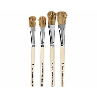 4 Hog Bristle Filbert Head Paint Brushes for Crafts | Kids Paint Brushes