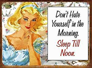 Don't Hate Yourself In The Morning... funny metal sign