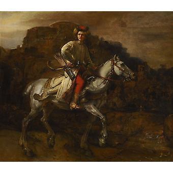 Польский всадник, Рембрандт, 50x43 см