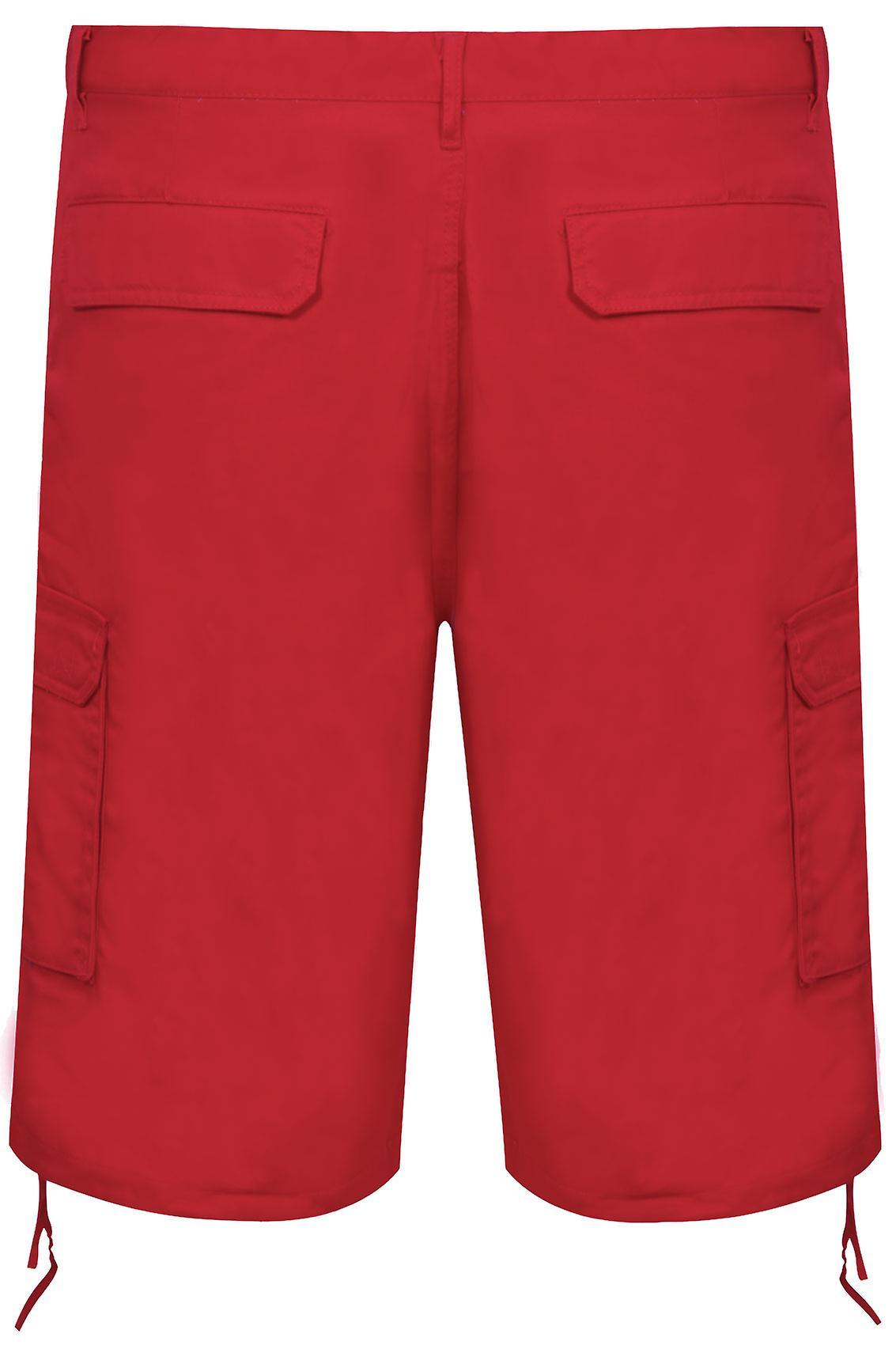NOIZ Dark Red Cotton Cargo Shorts With Pockets