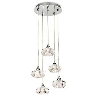 Firstlight-5 ljus tak hänge krom, klart dekorativt glas-4859CH