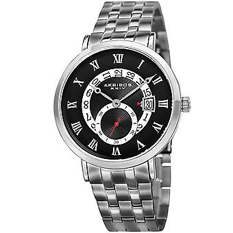 Akribos XXIV Men's Quartz Multifunction Silver-Tone Bracelet Watch AK949SSB