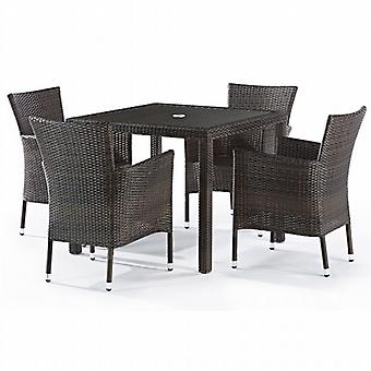 BrackenStyle Alonso 4 Seat Rattan Dining Set with Inset Glass Top
