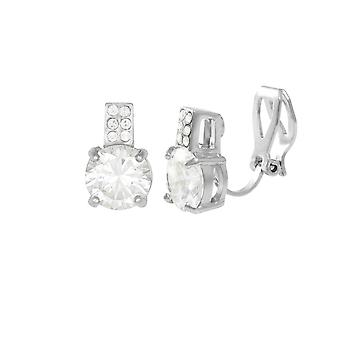 Eternal Collection Caress Clear Crystal And CZ Silver Tone Stud Clip On Earrings