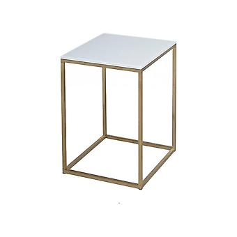 Gillmore Space White Glass And Gold Metal Contemporary Square Side Table