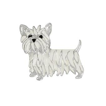 Eternal Collection Walter The Westie Enamelled Silver Tone Costume Brooch