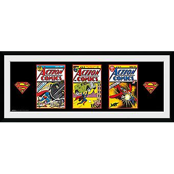 Superman 3 Comics Framed Collector Print 75x30cm