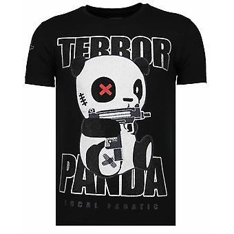 Terror Panda-Rhinestone T-shirt-Schwarz