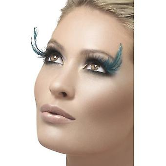 Smiffys Eyelashes Black & Green With Feather Plume Contains Glue