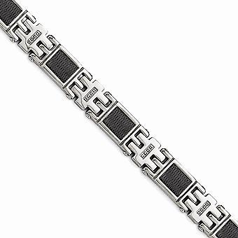 Inossidabile Bracciale placcato in acciaio Ip nero Mesh1 / 3ct Tw. Diamond -.33 dwt - 8,75 pollici