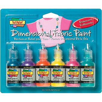 Scribbles Dimensional Fabric Paint 1 Ounce 6 Pkg Iridescent 185 36