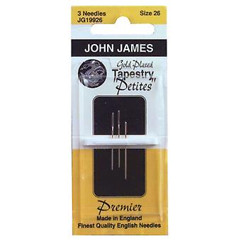Gold Plated Tapestry Petites Hand Needles Size 26 3 Pkg Jg199 26