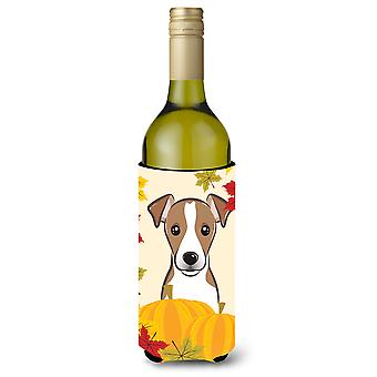 Jack Russell Terrier Thanksgiving Wine Bottle Koozie Hugger BB2066LITERK