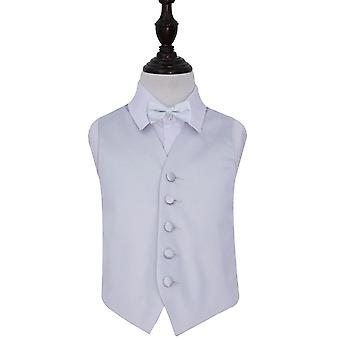 Boy's Silver Plain Satin Wedding Waistcoat & Bow Tie Set