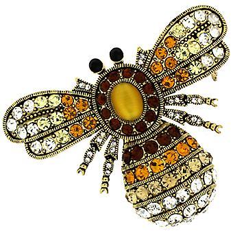 Broscher butik stora antika guld & Topaz Crystal insekt Bee brosch
