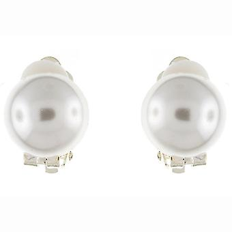 Clip On Earrings Store Classic Single Half Button Round Ivory Pearl Clip On Earrings
