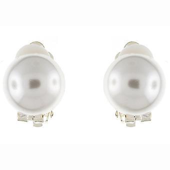 Clip op oorbellen Store klassieke één helft knop ronde ivoor Pearl Clip op oorbellen