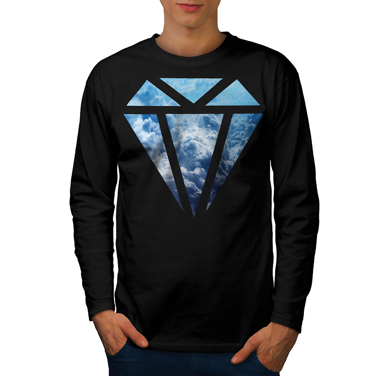 Blue Diamond Sky Cloud Jewel Love Men Black Long Sleeve T-shirt | Wellcoda