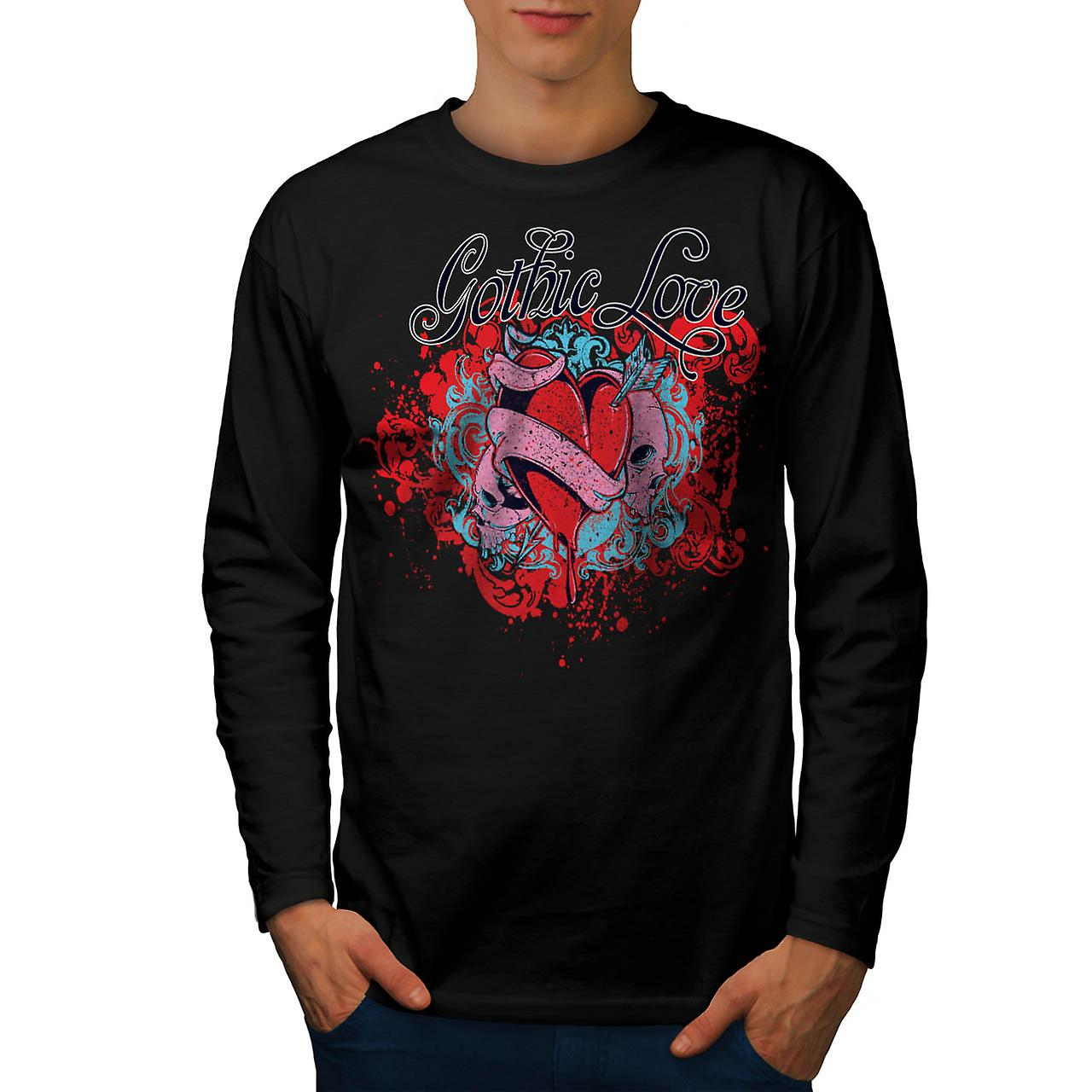 Gothic Love Heart Evil Romance Men Black Long Sleeve T-shirt | Wellcoda