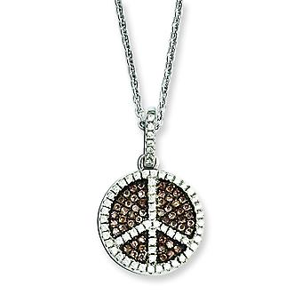 Sterling Silver Pave Brown Rhodium-plated Lobster Claw Closure and Cubic Zirconia Brilliant Embers Coffee Peace Sign Nec