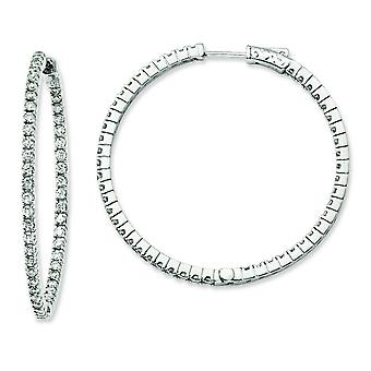 Sterling Silver Polished Hinged hoop Safety clasp Rhodium-plated Rhodium Plated Cubic Zirconia In and Out Hoop Earrings