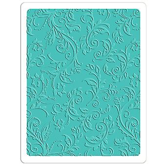Sizzix Textured Impressions Plus Embossing Folder-Botanical Swirls 660579