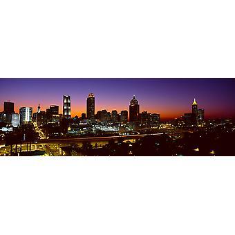 Panoramic view of Atlanta skyline at dusk Atlanta Georgia Poster Print