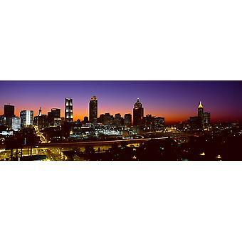 Panoramautsikt over Atlanta skyline i skumringen Atlanta Georgia plakatutskrift