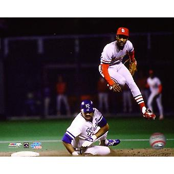 Ozzie Smith Game 2 of the 1985 World Series Action Photo Print