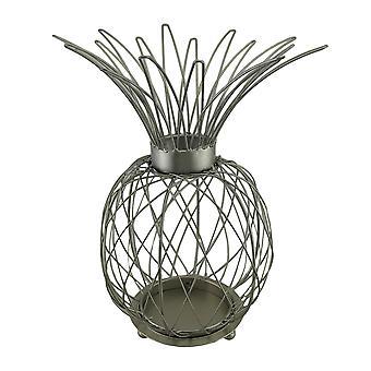 Satin Silver Finish metalltråd ananas formade ljus bur 15.