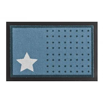 Doormat dirt trapping pad star and dots light blue white 40 x 60 cm