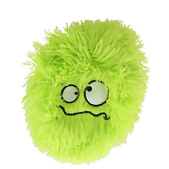 Children's 9 Inch Inflatable Green Confused Worried Face Furry Ball With Eyes