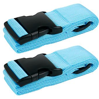 TRIXES Pack of 2 Blue High Density Luggage Straps Adjustable Suitcase Belts