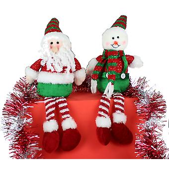 Festive Sitting Santa And Snowman Teddy Christmas Decorations Set of 2