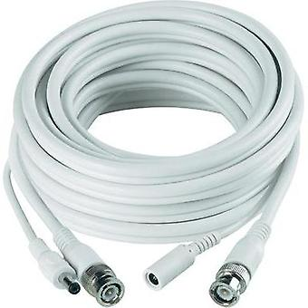 Current, VHS Extension cable [1x BNC plug, DC 5.5 socket - 1x BNC plug, DC 5.5 plug] 40 m White Sygonix 43127X