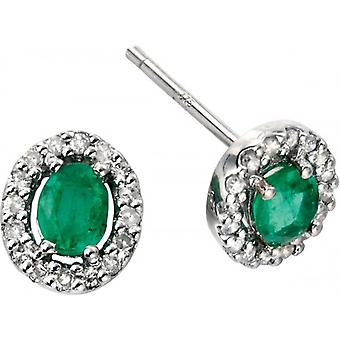 Elements Gold Skylight 9ct White Gold Emerald and Diamond Oval Earrings - Green/White Gold