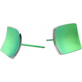 Ti2 Titanium Square Domed Stud Earrings - Fresh Green