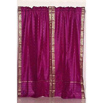 Indo-violett-roten Stab Tasche Sari schiere Vorhang 43 Zoll x 84 Zoll - Stück