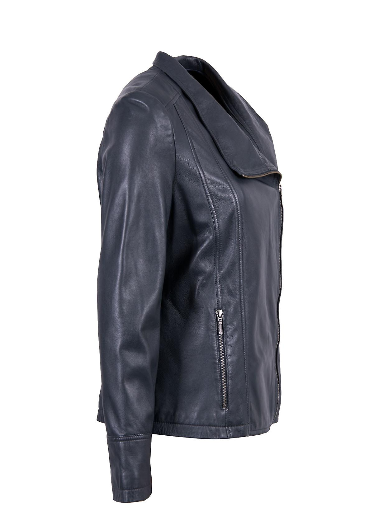 Jill Biker Style Leather Jacket in Navy