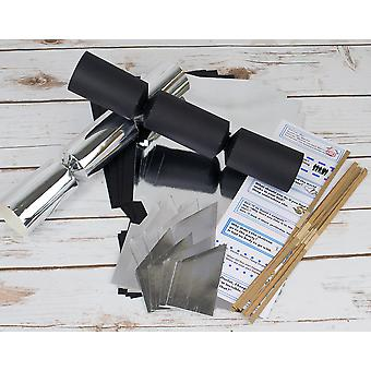 8 Black & Silver Mix Make & Fill Your Own Cracker Making Craft Kit