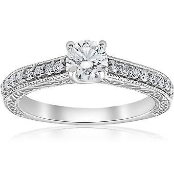 3/4 ct ビンテージ ダイヤモンド婚約手エッチング リング 14 K ホワイトゴールド