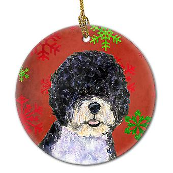 Portuguese Water Dog Red Snowflakes Holiday Christmas Ceramic Ornament SS4697