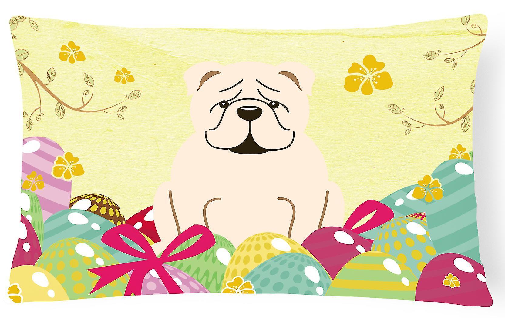 De Oeufs Pâques Décoratif Anglais Blanc Bulldog Oreiller Toile Tissu shQxdtrC
