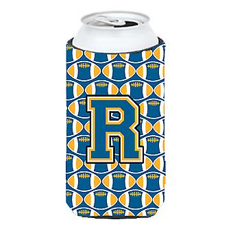Letter R Football Blue and Gold Tall Boy Beverage Insulator Hugger