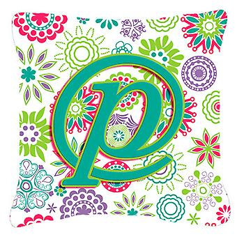 Letter P Flowers Pink Teal Green Initial Canvas Fabric Decorative Pillow
